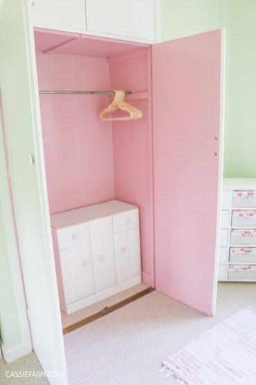 bright colour pink painted bedroom cupboard wardrobe interior diy interior design idea-18