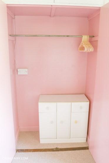 bright colour pink painted bedroom cupboard wardrobe interior diy interior design idea project-2