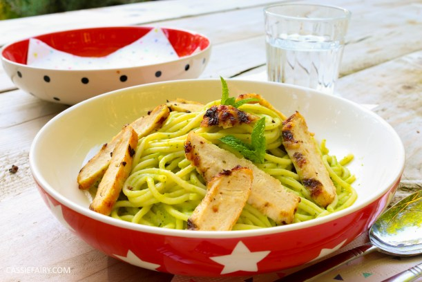 minted pea pasta recipe with grilled chicken breast al fresco meal dinner-31