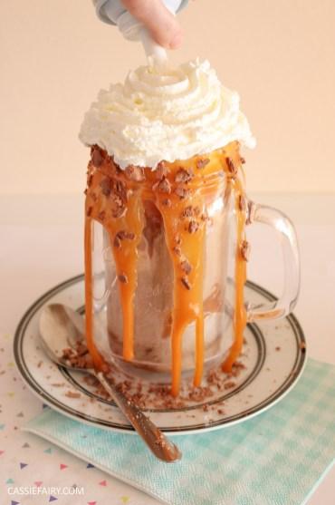 indulgent breakfast freakshake milkshake recipe friyay caramel sauce donuts waffles emmi caffe latte-6