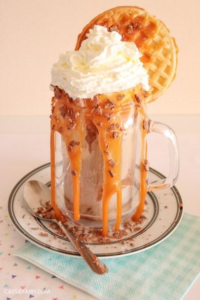 indulgent breakfast freakshake milkshake recipe friyay caramel sauce donuts waffles emmi caffe latte-7