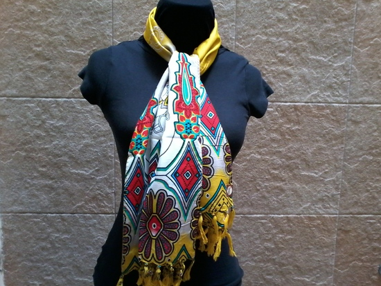 batik-scarf-design-gold-black-elephant