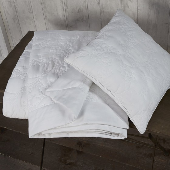 textured embroidery white cushion and throw