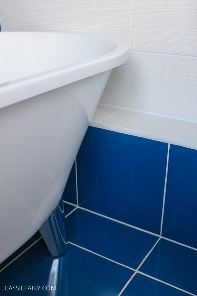 blue tiles in a bathroom