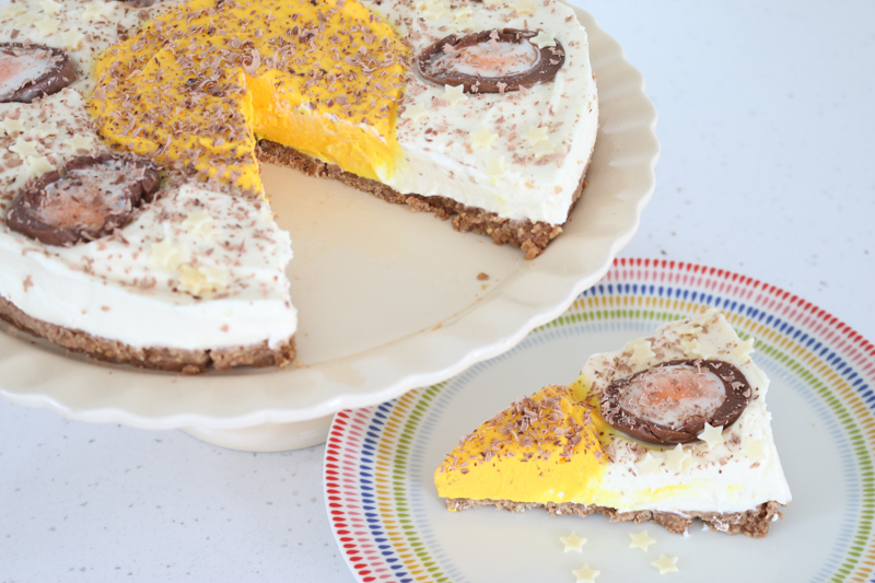 Giant Creme Egg cheesecake recipe for Easter