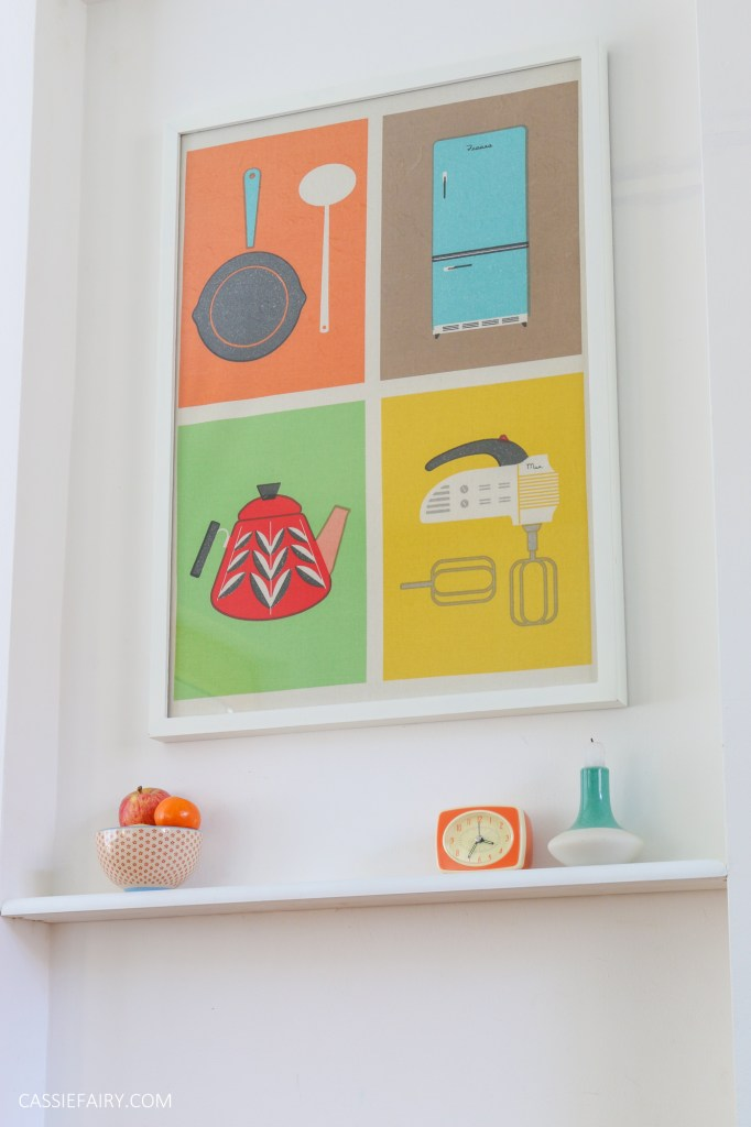 photo of a colourful poster framed and hung in a kitchen