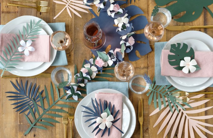 How to make diy paper decorations for a tropical themed party plus you can win a copy of cutting machine crafts for yourself in my giveaway so read on to find out some thrifty tricks for creating tropical party decor solutioingenieria Choice Image