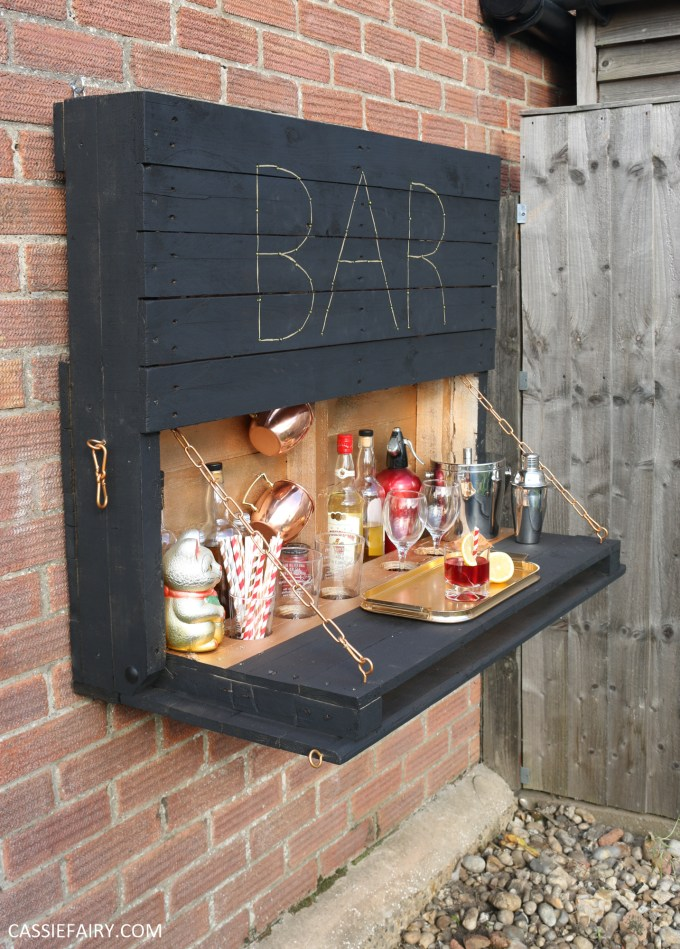 How to make an illuminated drop-down outdoor bar from pallets on Backyard Bar id=79486