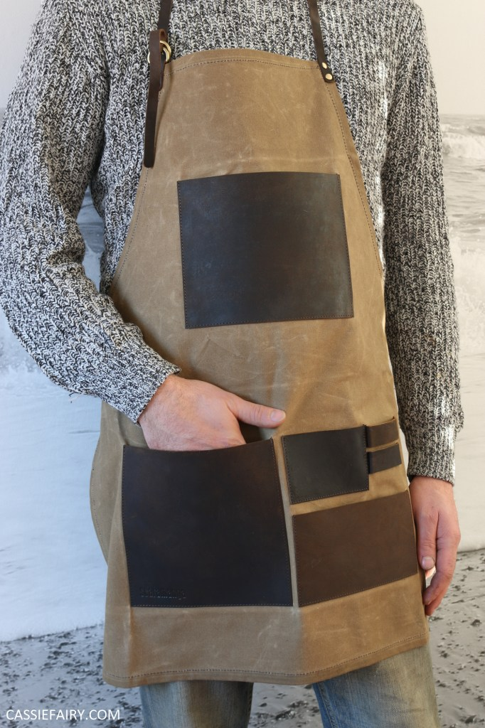 Photo of a canvas apron with leather pockets
