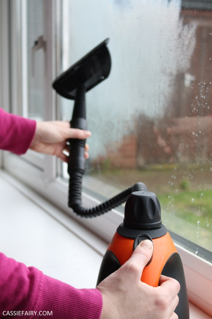 Photo of a handheld steam cleaner being used to clean a window