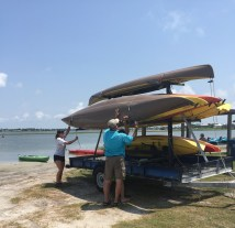 Taking the kayaks off the trailor