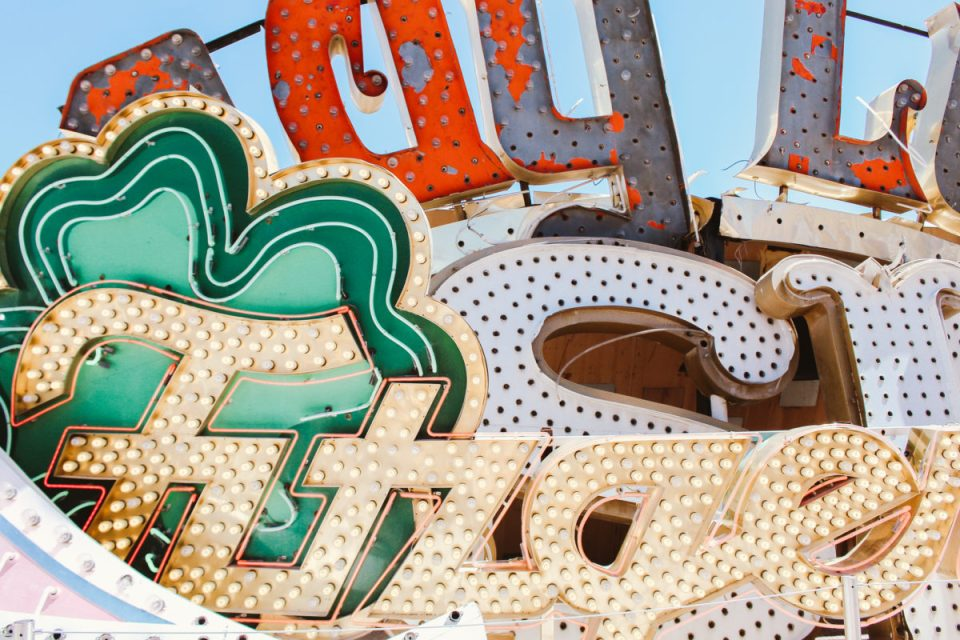 Lucky in Las Vegas, visiting the Neon Museum