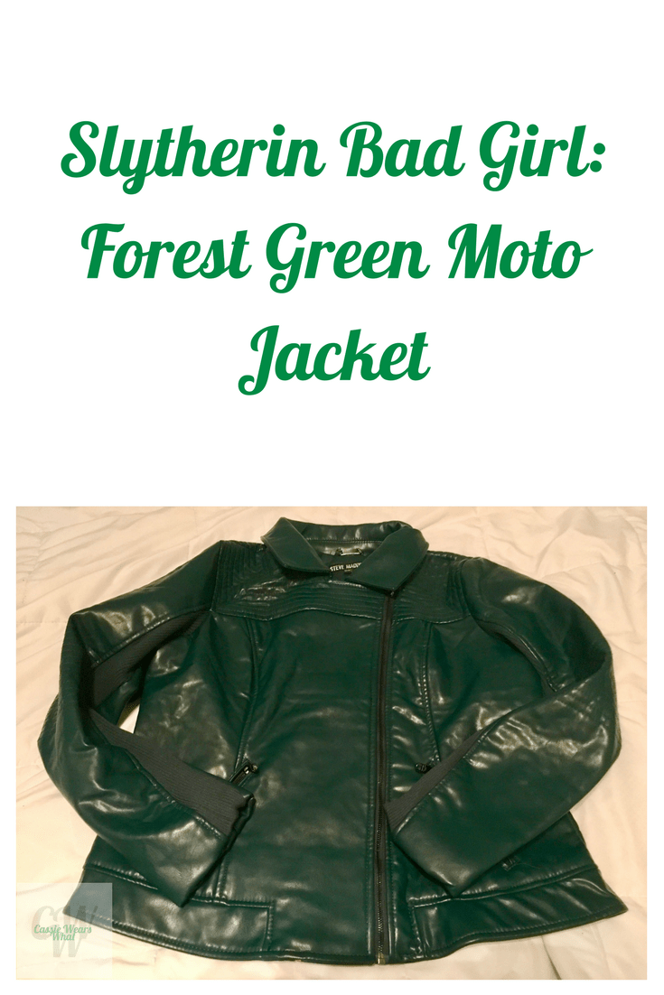 Once a Slytherin, always a Slytherin. I couldn't resist this forest green moto jacket! Check it out at Cassie Wears what.