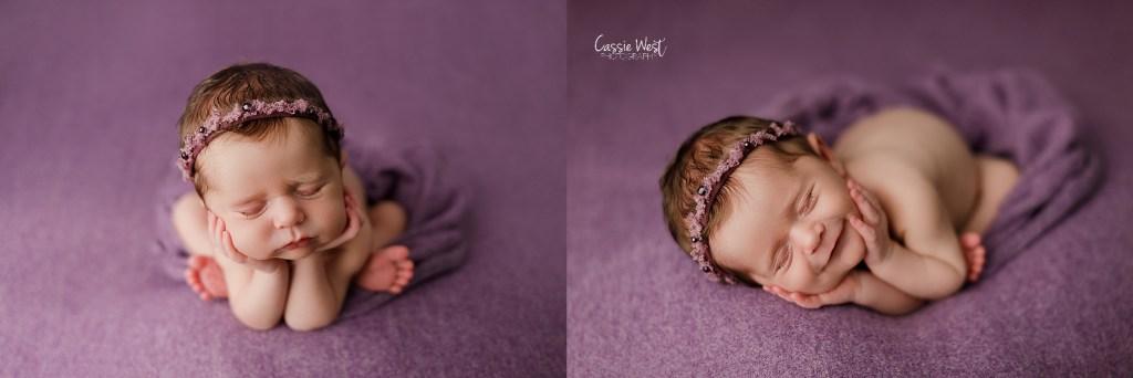 baby girl mini newborn session purple