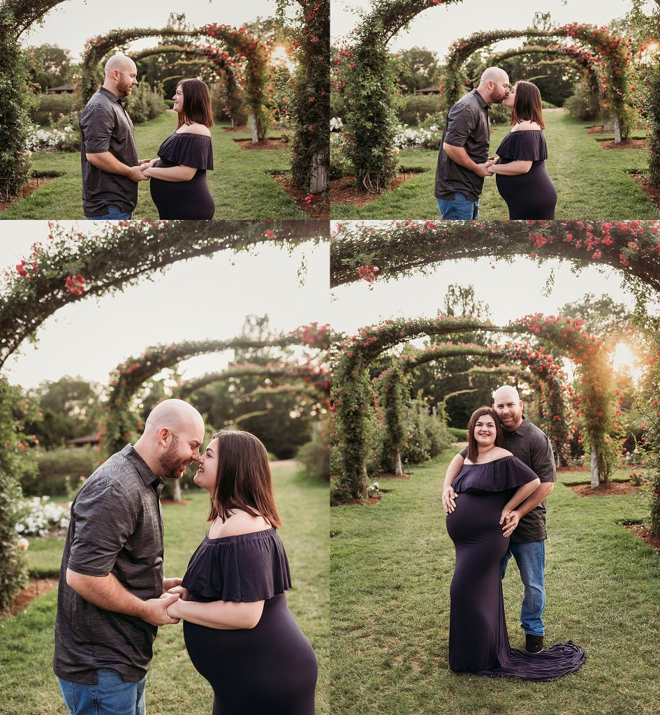 maternity photos Elizabeth Park flower garden with husband