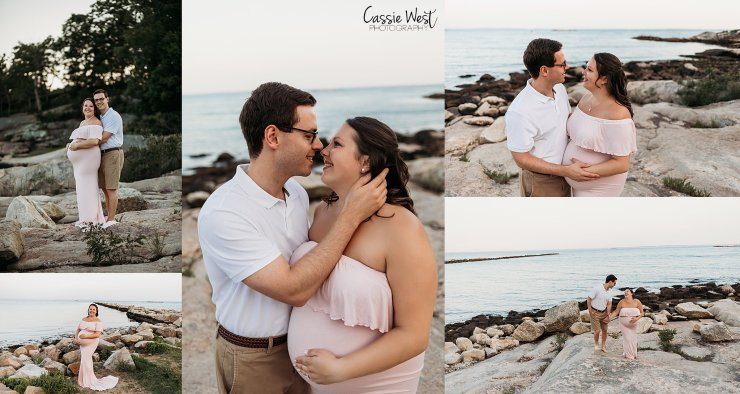 couples maternity photos in pink dress on the beach
