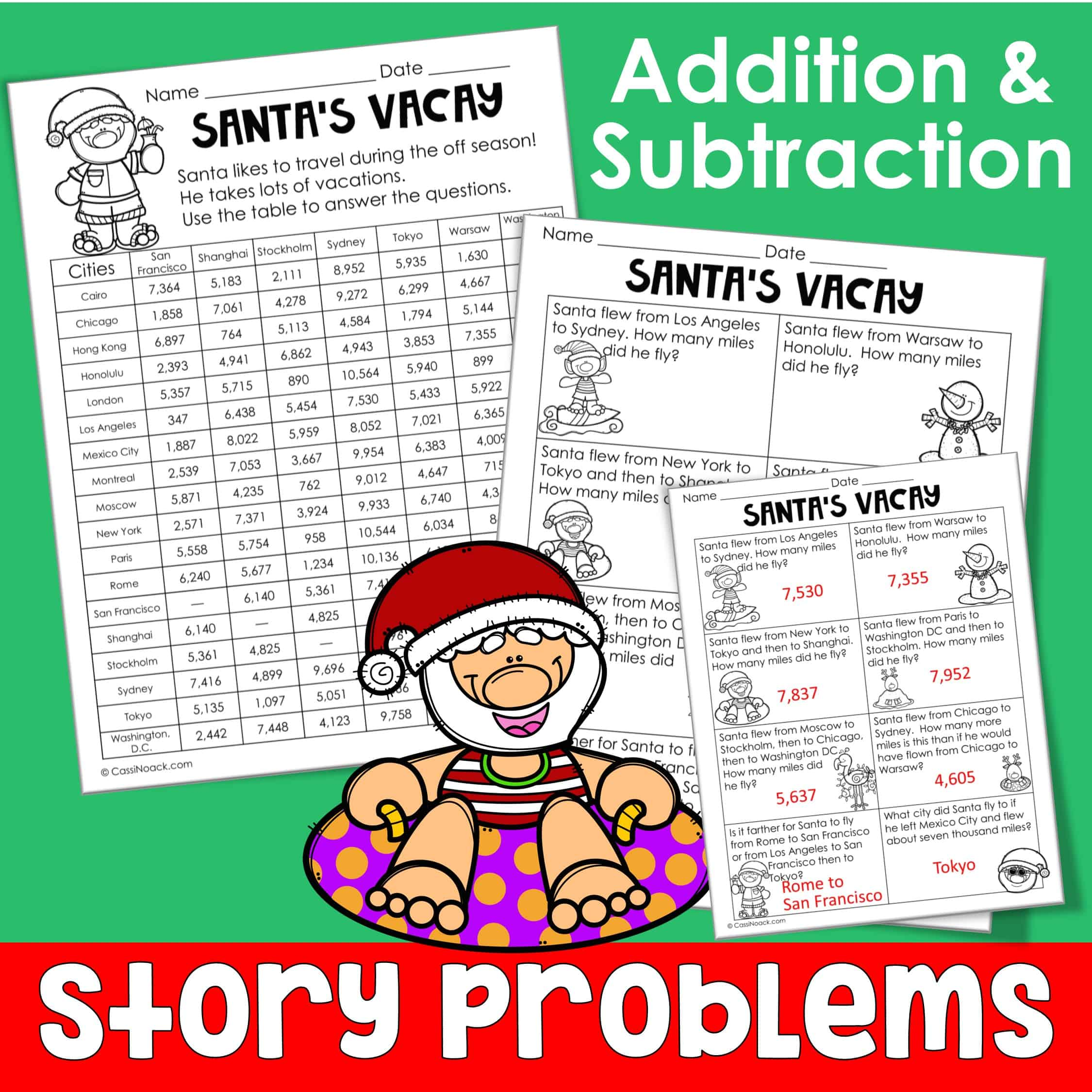 Santa S Going On Vacation Math Story Problems And