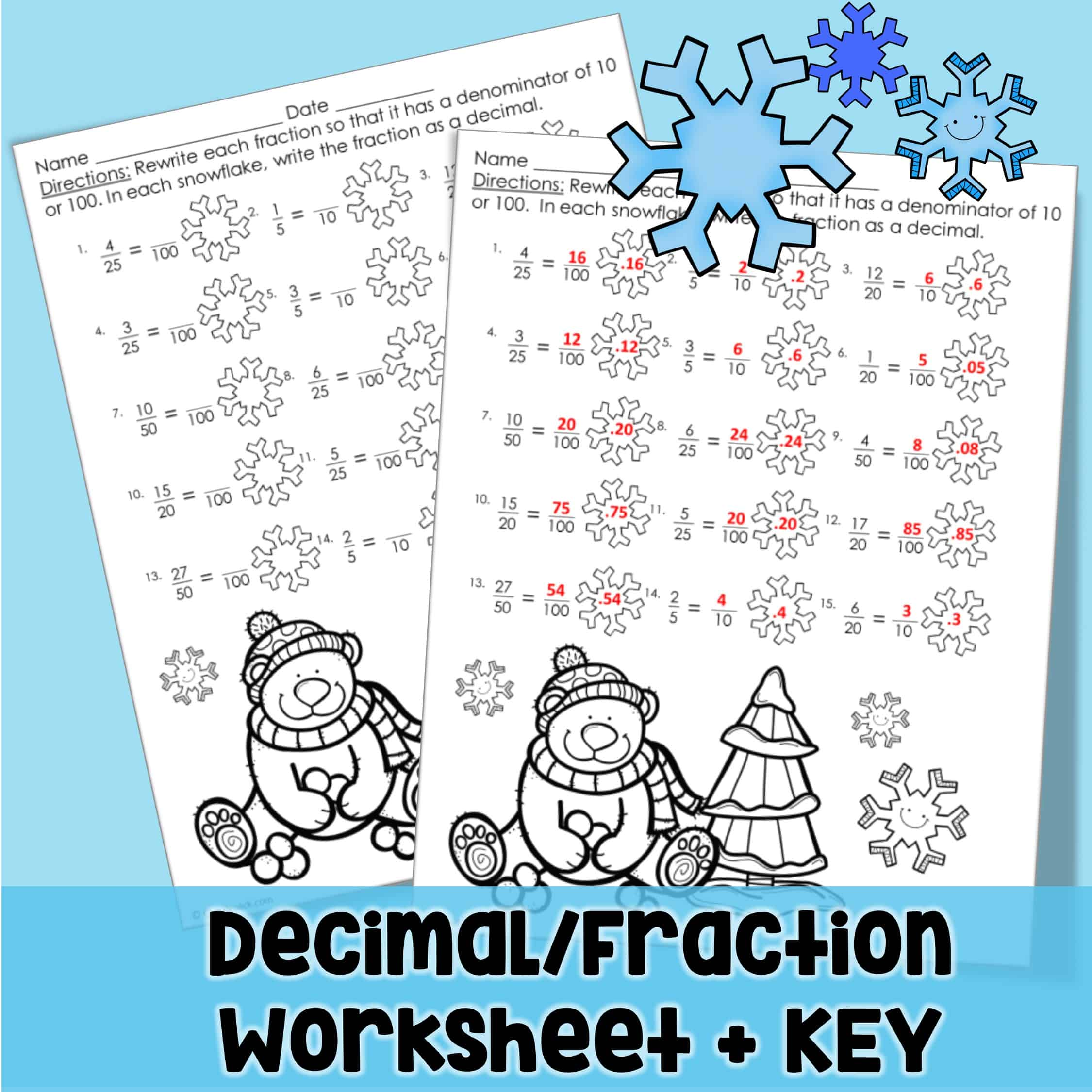 Polar Bear Fractions And Decimals Equivalence