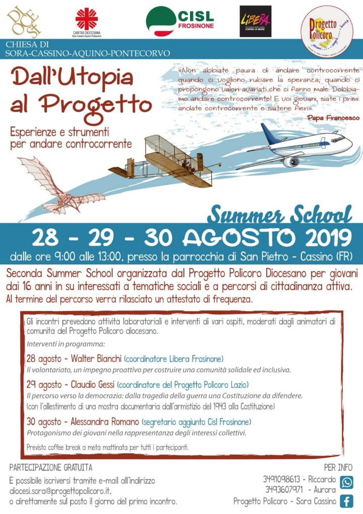 SUMMER SCHOOL DEL PROGETTO POLICORO edizione 2019