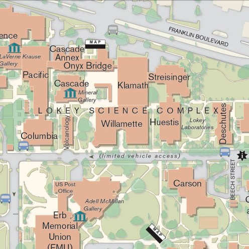 University of Oregon Kiosk Map, UO Campus GIS