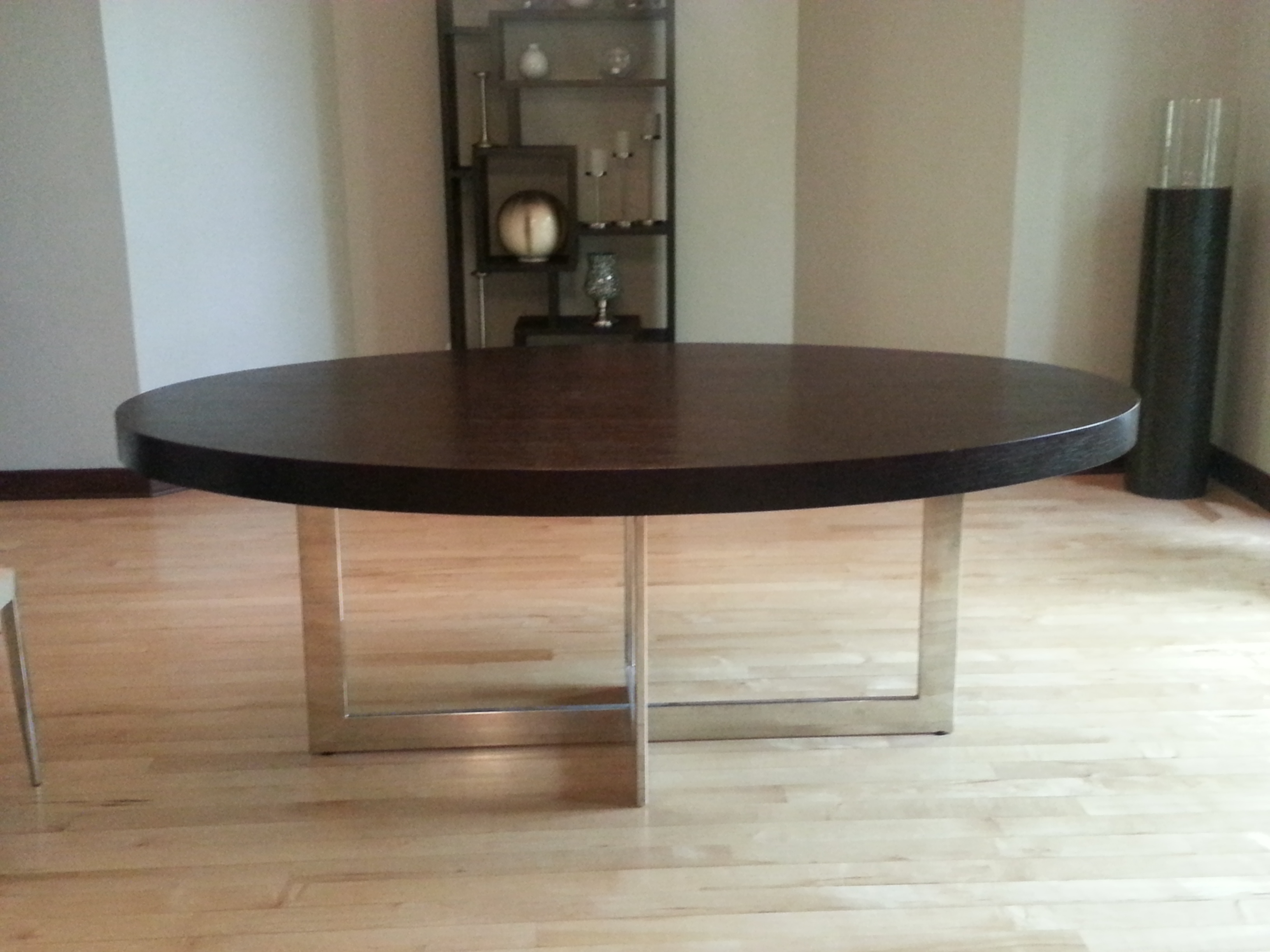 Contemporary Large Oval Dark Wood Dining Table With