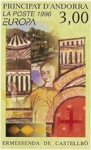 Timbre représentant Ermessende de Castelbon