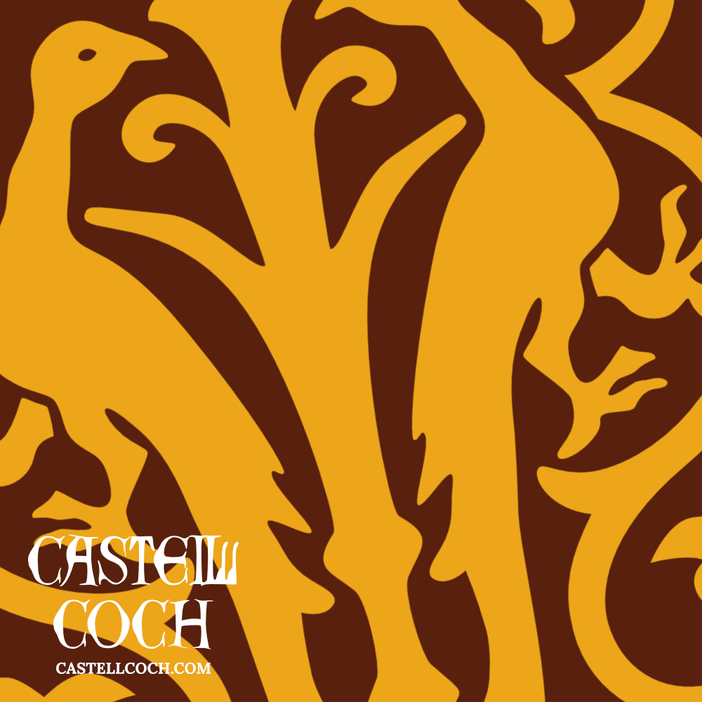 Illustration of bird tile from Castell Coch