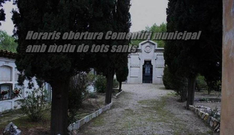Horari del cementiri municipal amb motiu de tot sants