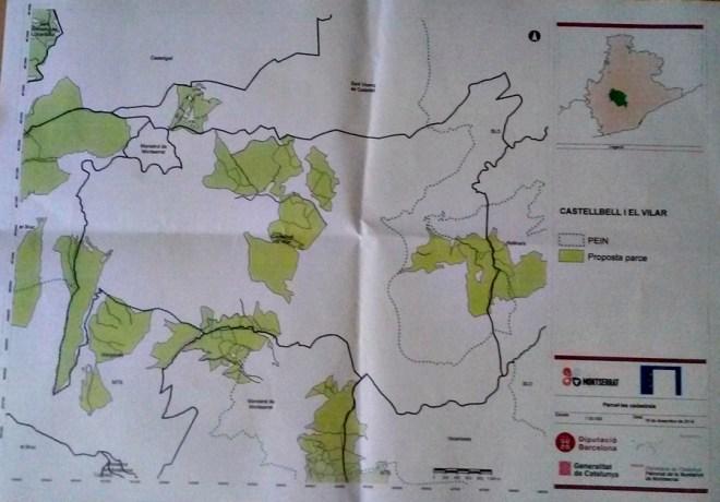 Planol del temer mpal de castellbell i el Vilar , les zones verdes son les que es faran les actuacions del proyecte life
