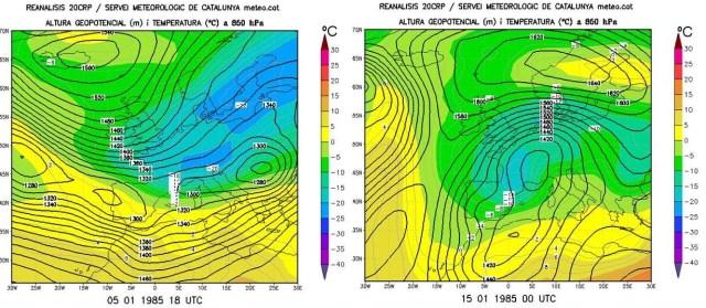 Dos mapes del temps , el de l´esquerra pertany al dia 5   i el de la dreta el 15 de gener de 1985