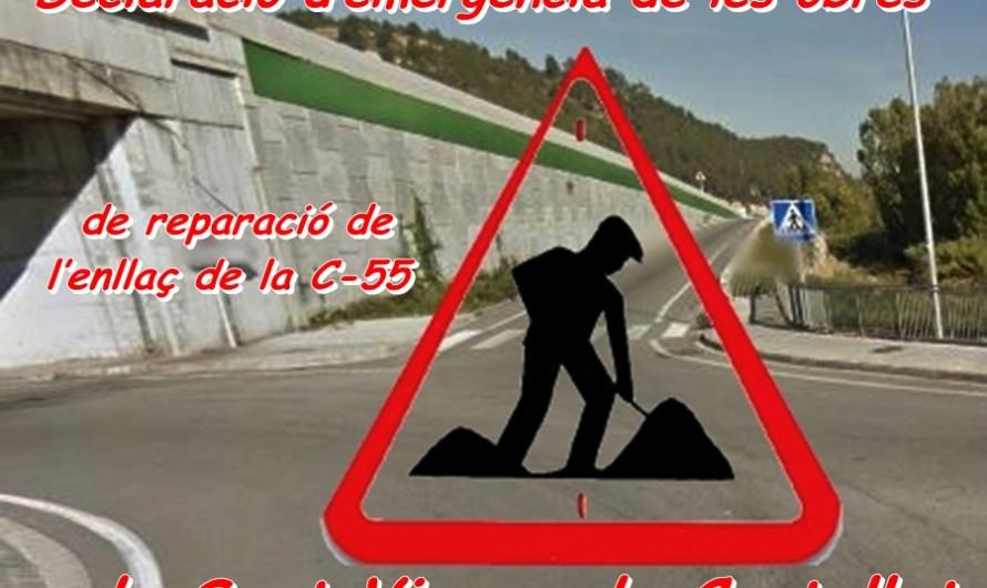 Declaració d'emergència de les obres de reparació de l'enllaç de la C-55 de Sant Vicenç de Castellet