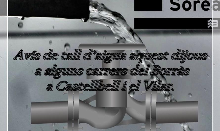 Avís de tall d'aigua aquest dijous a alguns carrers del Borràs a Castellbell i el Vilar.