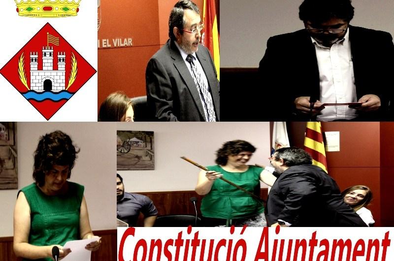 Montserrat Badia, nomenada Alcaldessa de Castellbell i el Vilar, a l'acte de Constitució dels Ajuntaments.