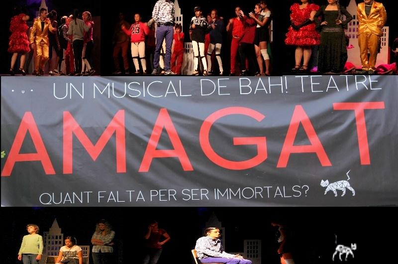 Mitja sala del Casino Borràs gaudeix del musical «AMAGATS« .