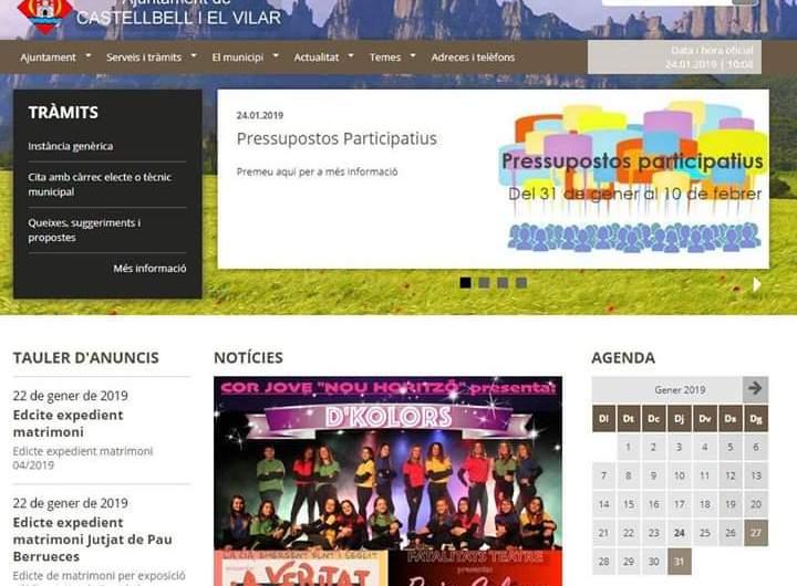 L'ajuntament de Castellbell i el Vilar estrena una nova pàgina web més moderna i intuïtiva