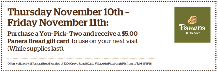 Panera Bread Coupon for Caste Village Store 3