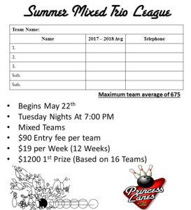 Summer Mixed Leagues at Princess Lanes in Caste Village