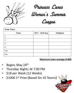 Summer Women's League at Princess Lanes in Caste Village