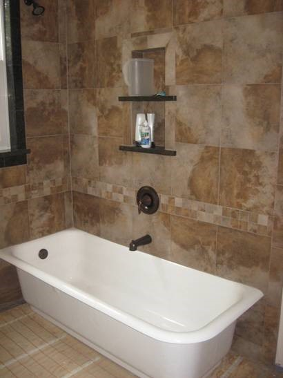 Finished Shower and Clawfoot Tub