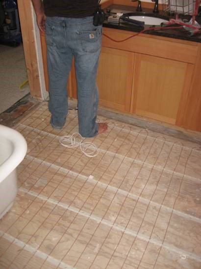 Bathroom Floor Insulated and Ready for Heat Coils