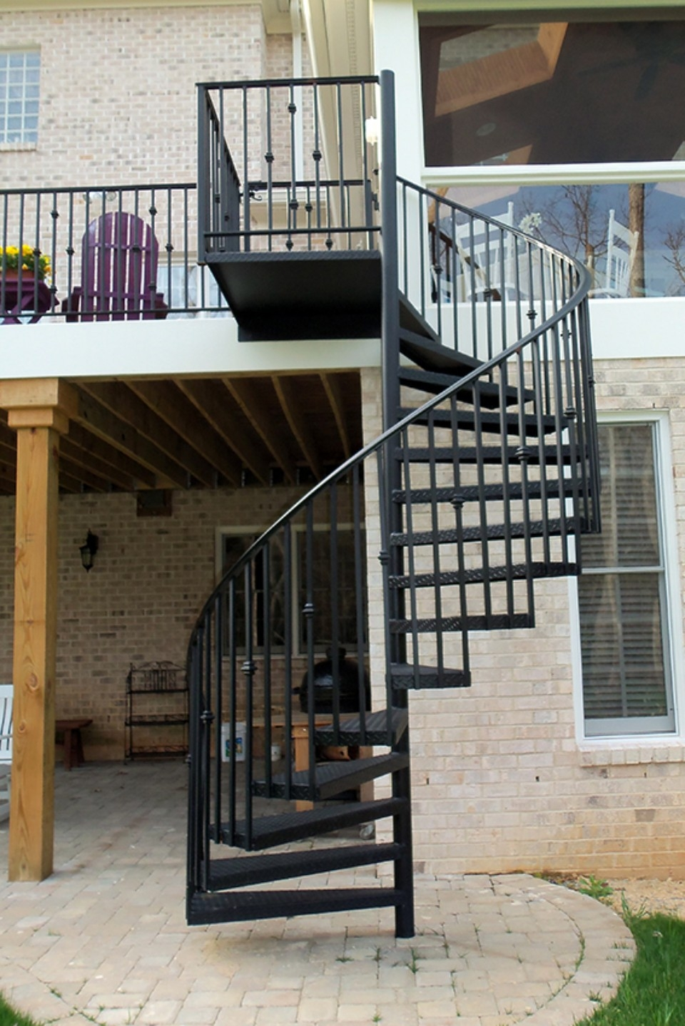 Wrought Iron Staircase Raleigh Nc Cast Iron Elegance | Spiral Staircase For Outside Deck | Iron | Custom | Double Spiral | Railing | Portable Rectangular Concrete