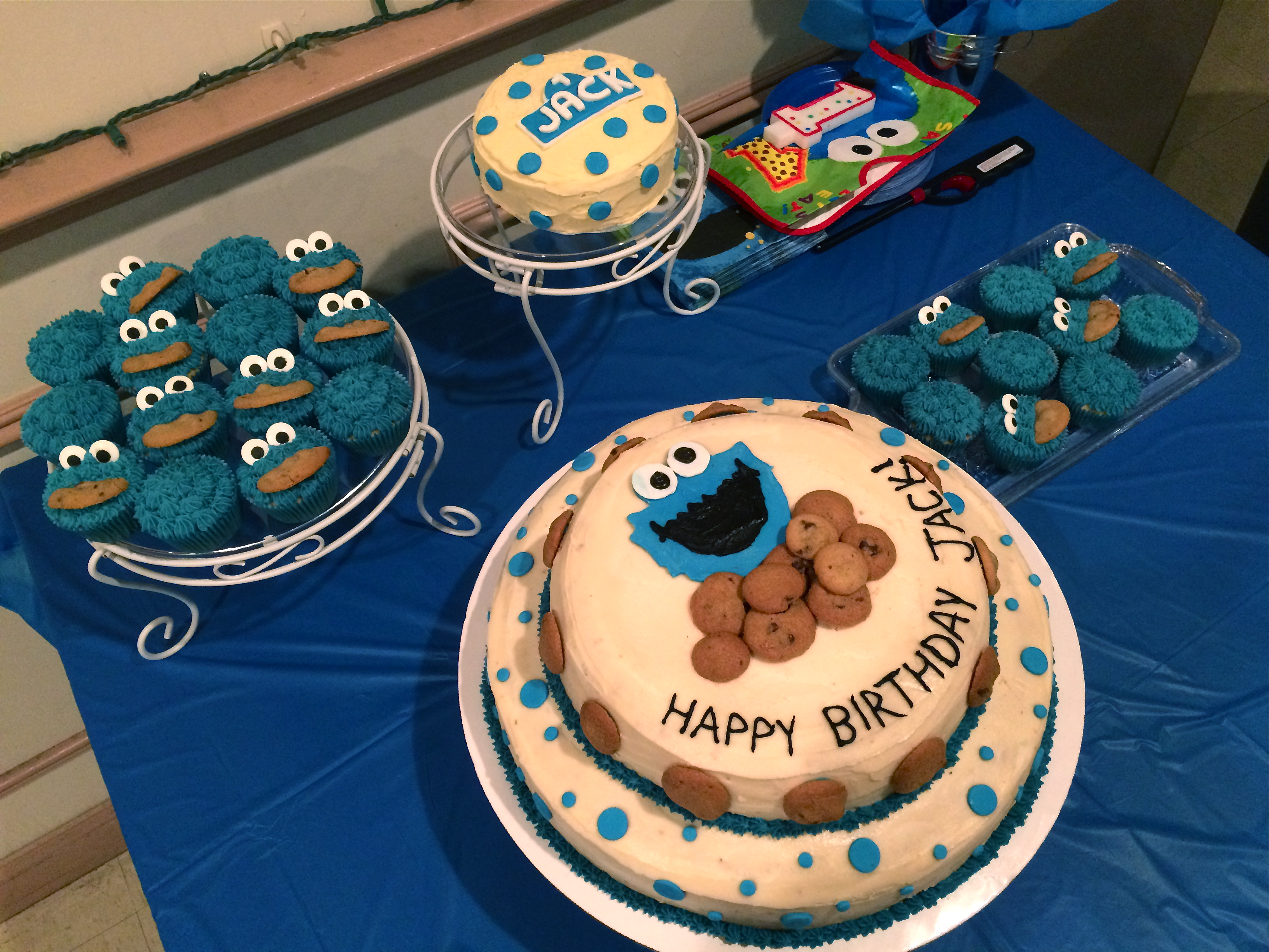 Cookie Monster Themed 1st Birthday Castle Cakes
