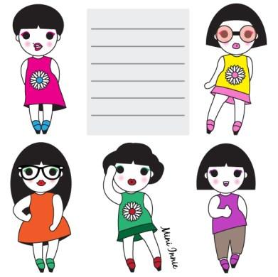 Hipster Girls paper note illustration
