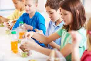Kids eating a catered lunch