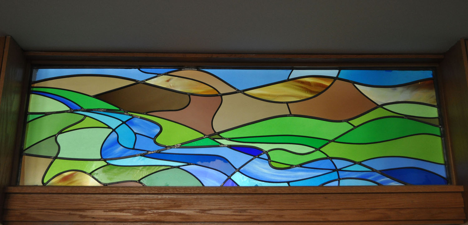 Abstract River Of Life Stained Glass Transom Castle