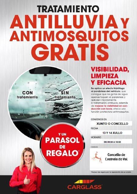 Tratamento antichoiva e antimosquitos gratis, grazas a CARGLASS
