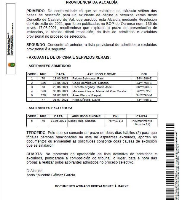 Lista provisional de admitidos e excluídos na selección para o posto de axudante de oficina e servizos xerais