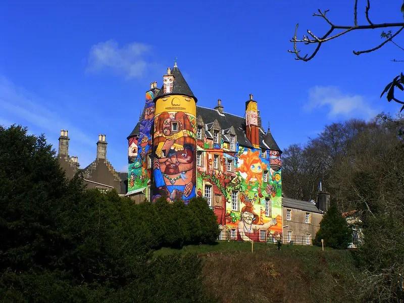 Graffiti on the side of Kelburn Castle