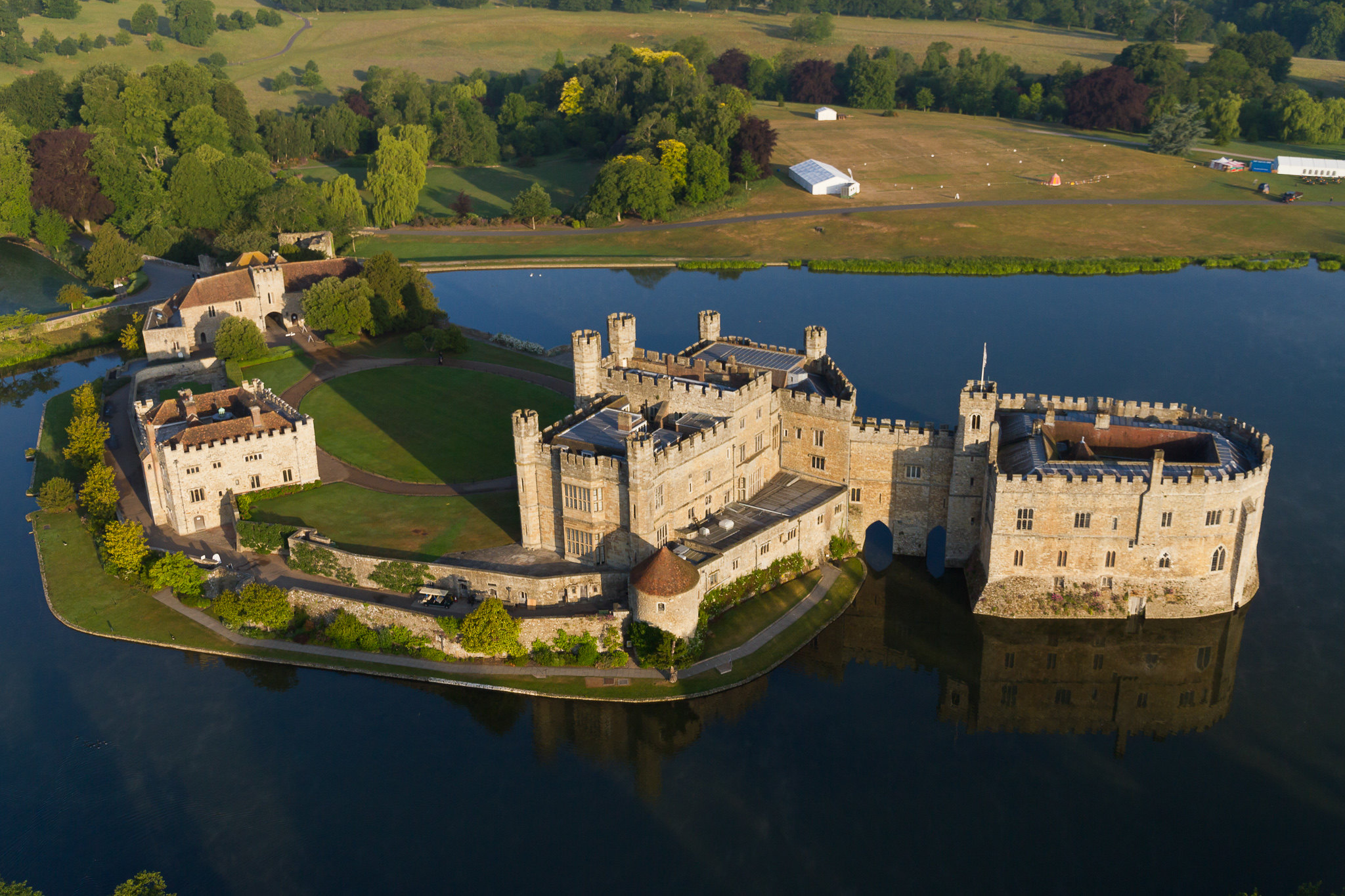 Aerial footage of Leeds Castle which is surrounded by water