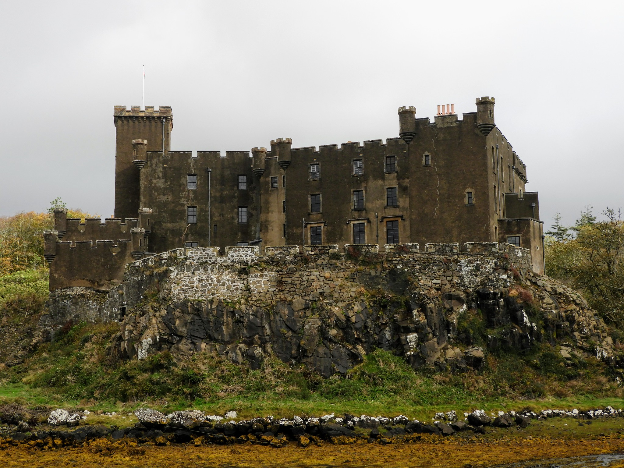 Dunvegan Castle sits on a natural rock formation